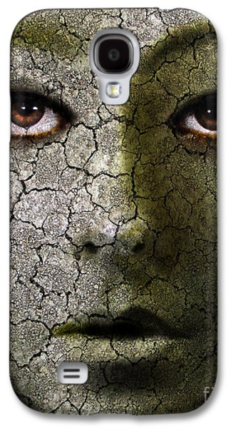 Ghastly Galaxy S4 Cases - Creepy Cracked Face With Tears Galaxy S4 Case by Jill Battaglia