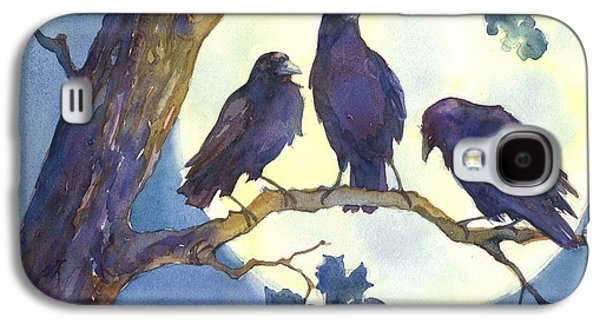 Crows Paintings Galaxy S4 Cases - Crows in Moonlight Galaxy S4 Case by Peggy Wilson