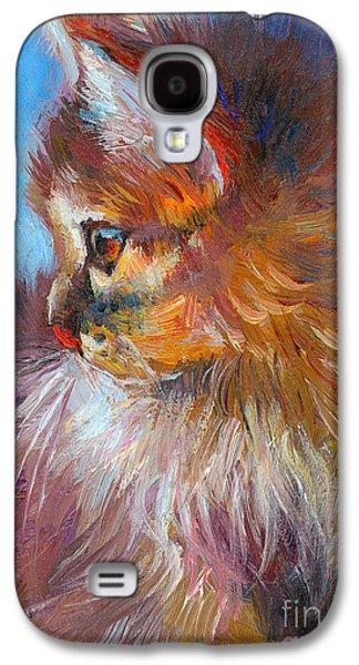 Breed Galaxy S4 Cases - Curious Tubby Kitten painting Galaxy S4 Case by Svetlana Novikova