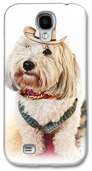 Coton Galaxy S4 Cases - Cute dog in Halloween cowboy costume Galaxy S4 Case by Elena Elisseeva