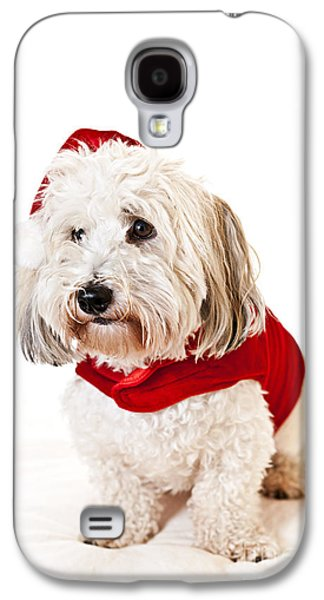 Puppies Galaxy S4 Cases - Cute dog in Santa outfit Galaxy S4 Case by Elena Elisseeva