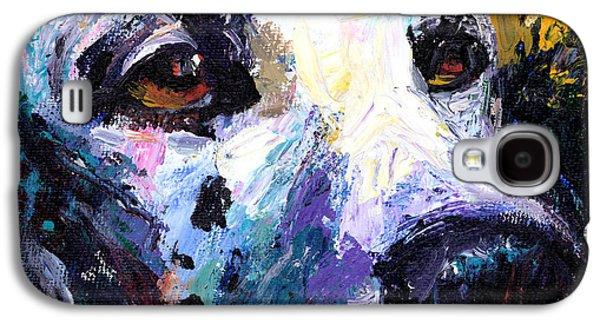 Textured Drawings Galaxy S4 Cases - Dalmatian Dog Painting Galaxy S4 Case by Svetlana Novikova