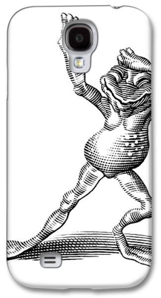 Linocut Galaxy S4 Cases - Dancing Frog, Conceptual Artwork Galaxy S4 Case by Bill Sanderson