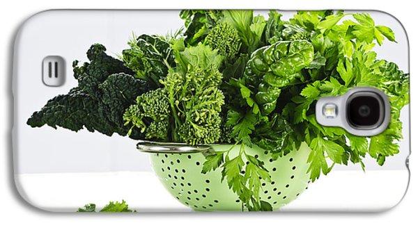 Dark Green Leafy Vegetables In Colander Galaxy S4 Case by Elena Elisseeva