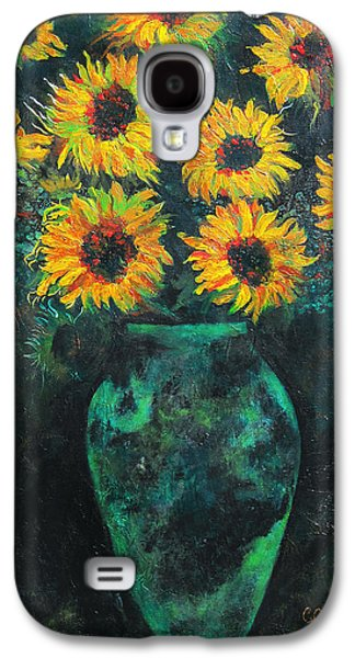Pallet Knife Galaxy S4 Cases - Darkened Sun Galaxy S4 Case by Carrie Jackson