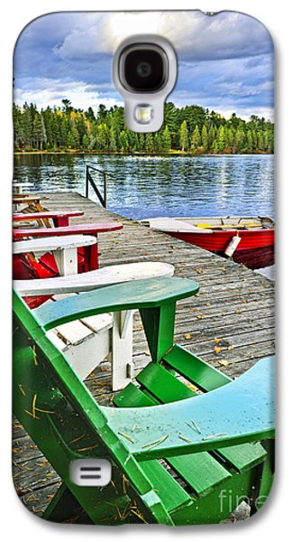 Chair Galaxy S4 Cases - Deck chairs on dock at lake Galaxy S4 Case by Elena Elisseeva