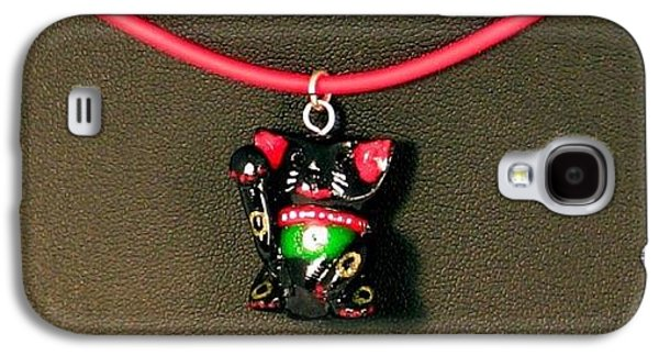 Animals Jewelry Galaxy S4 Cases - Deluxe Hand Painted Black Maneki Neko Lucky Beckoning Cat Necklace Galaxy S4 Case by Pet Serrano