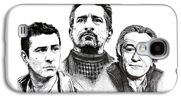 Robert De Niro Galaxy S4 Cases - Robert De Niro Pen and Ink Drawing in Black and White Galaxy S4 Case by Mario  Perez