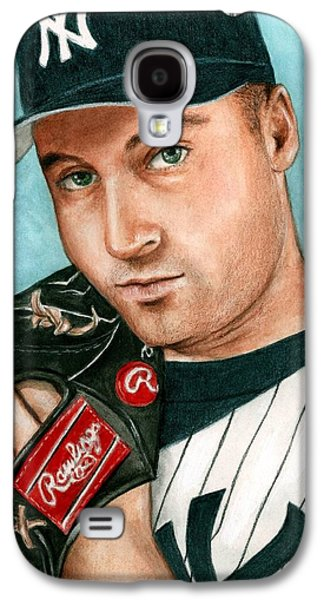 Athletes Paintings Galaxy S4 Cases - Derek Jeter  Galaxy S4 Case by Bruce Lennon