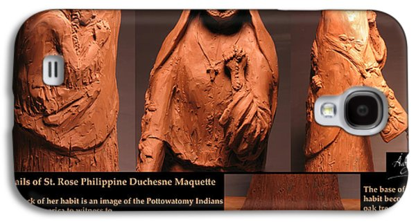 Native Sculptures Galaxy S4 Cases - Details of Symbols on Saint Rose Philippine Duchesne Sculpture. Galaxy S4 Case by Adam Long