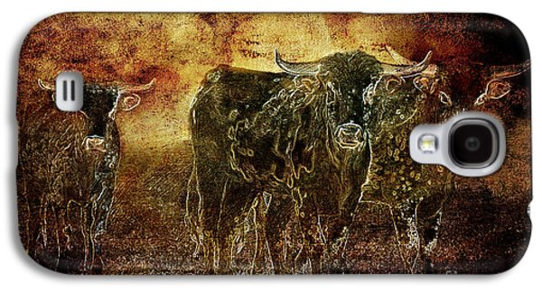 Idaho ist Photographs Galaxy S4 Cases - Devils Herd - Texas Longhorn Cattle Galaxy S4 Case by Cindy Singleton