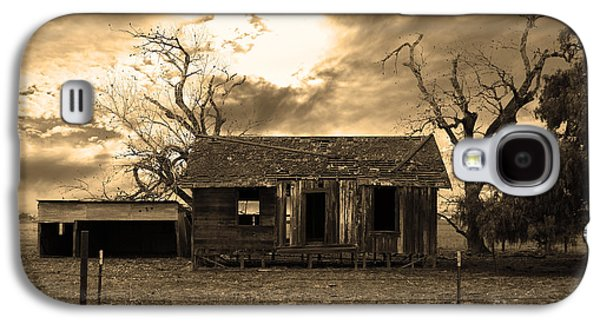 Old House Photographs Galaxy S4 Cases - Dilapidated Old Farm House . 7D10341 . sepia Galaxy S4 Case by Wingsdomain Art and Photography