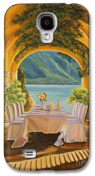 Lake Como Paintings Galaxy S4 Cases - Dining on Lake Como Galaxy S4 Case by Charlotte Blanchard