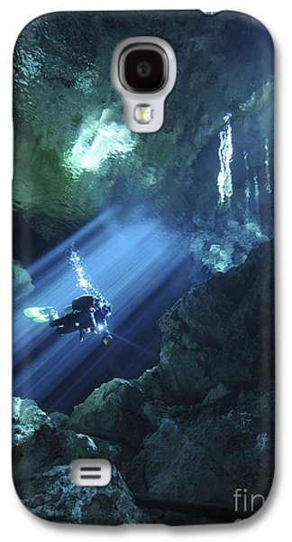 Person Galaxy S4 Cases - Diver Silhouetted In Sunrays Of Cenote Galaxy S4 Case by Karen Doody