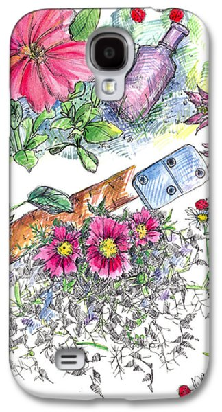 Nature Study Drawings Galaxy S4 Cases - Domino Petunia Galaxy S4 Case by Cathie Richardson