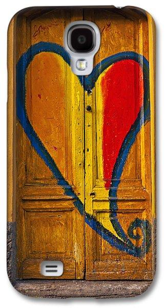 Wooden Door Galaxy S4 Cases - Door With Heart Galaxy S4 Case by Joana Kruse