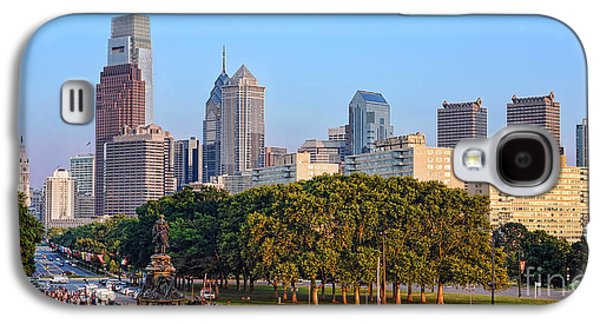 Benjamin Franklin Galaxy S4 Cases - Downtown Philadelphia Skyline Galaxy S4 Case by Olivier Le Queinec