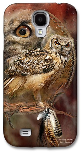 Animal Mixed Media Galaxy S4 Cases - Dream Catcher - Spirit Of The Owl Galaxy S4 Case by Carol Cavalaris