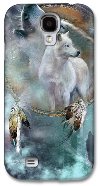 Animal Mixed Media Galaxy S4 Cases - Dream Catcher - Spirit Of The White Wolf Galaxy S4 Case by Carol Cavalaris