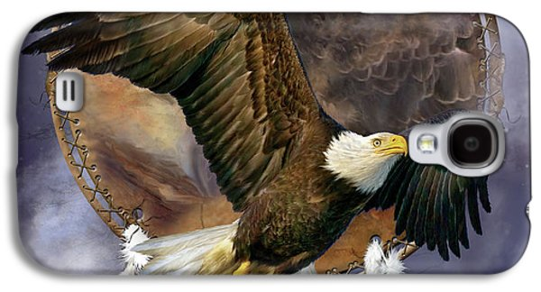 Eagle Mixed Media Galaxy S4 Cases - Dream Catcher - Spirit Eagle Galaxy S4 Case by Carol Cavalaris