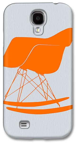 Rocking Chairs Galaxy S4 Cases - Eames Rocking chair orange Galaxy S4 Case by Naxart Studio