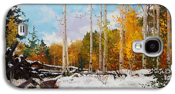 Snow Tree Prints Galaxy S4 Cases - Early snow of Santa Fe National Forest Galaxy S4 Case by Gary Kim