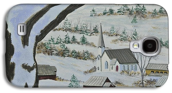Snow Scene Landscape Paintings Galaxy S4 Cases - East Orange Vermont Galaxy S4 Case by Charlotte Blanchard