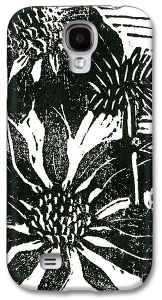 Lino Mixed Media Galaxy S4 Cases - Echinacea block print Galaxy S4 Case by Ellen Miffitt