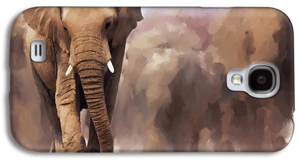 Stampede Digital Art Galaxy S4 Cases - Elephant Painting Galaxy S4 Case by Michael Greenaway