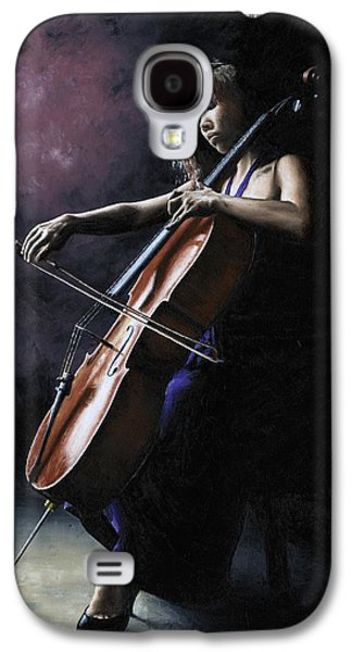 Seated Galaxy S4 Cases - Emotional Cellist Galaxy S4 Case by Richard Young