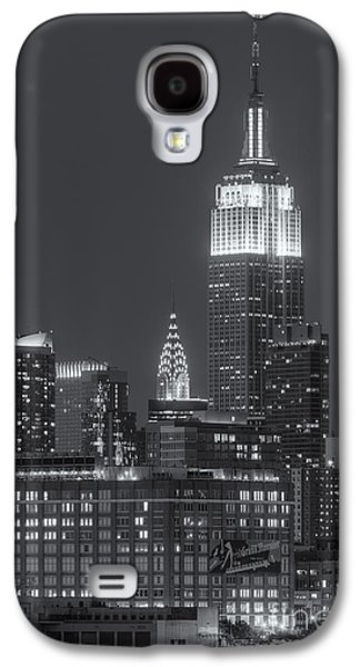 Landmarks Galaxy S4 Cases - Empire State and Chrysler Buildings at Twilight II Galaxy S4 Case by Clarence Holmes