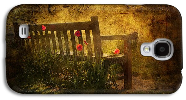 Garden Scene Mixed Media Galaxy S4 Cases - Empty Bench and Poppies Galaxy S4 Case by Svetlana Sewell