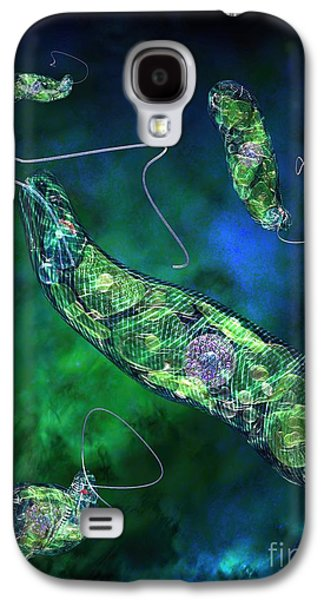 Unicellular Galaxy S4 Cases - Euglena Blue Galaxy S4 Case by Russell Kightley
