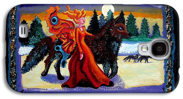 Women Together Paintings Galaxy S4 Cases - Faerie and Wolf Galaxy S4 Case by Genevieve Esson