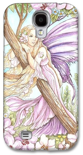 Fairies Mixed Media Galaxy S4 Cases - Fairy In The Flowers Galaxy S4 Case by Morgan Fitzsimons
