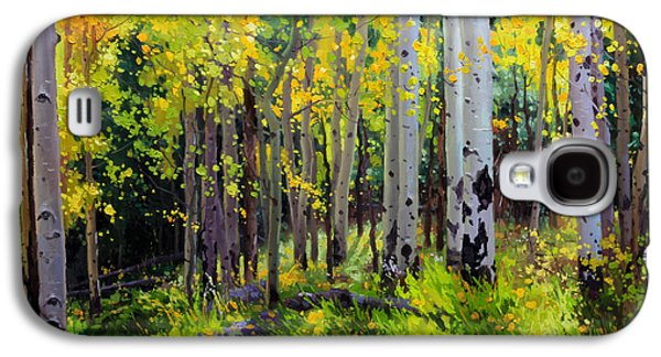 Landscape Posters Galaxy S4 Cases - Fall Aspen Forest Galaxy S4 Case by Gary Kim