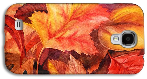 Maple Season Paintings Galaxy S4 Cases - Fall Leaves Galaxy S4 Case by Irina Sztukowski