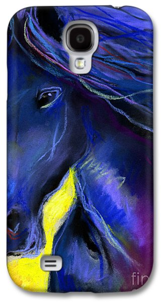 Blue Pastels Galaxy S4 Cases - Fantasy Friesian Horse painting print Galaxy S4 Case by Svetlana Novikova