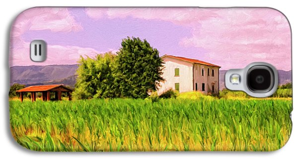 Tuscan Sunset Paintings Galaxy S4 Cases - Farmhouse in Tuscany Galaxy S4 Case by Dominic Piperata