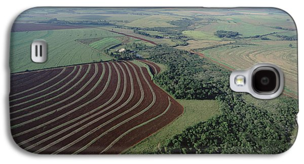 Contour Farming Galaxy S4 Cases - Farming Region With Forest Remnants Galaxy S4 Case by Claus Meyer