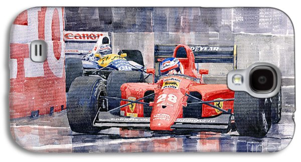 Jeans Galaxy S4 Cases - Ferrari F1 Jean Alesi Phoenix US GP Arizona 1991 Galaxy S4 Case by Yuriy  Shevchuk
