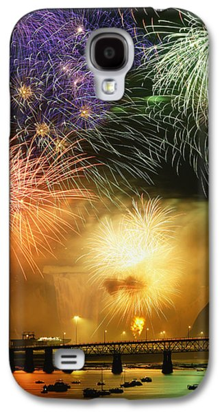 Colour Image Photographs Galaxy S4 Cases - Fireworks Over Montmorency Falls, Quebec Galaxy S4 Case by Yves Marcoux