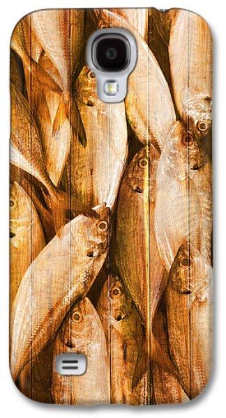 Wooden Fish Galaxy S4 Cases - Fish Pattern On Wood Galaxy S4 Case by Setsiri Silapasuwanchai