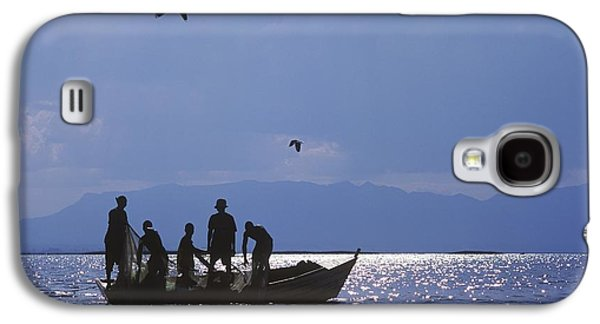 Boats In Reflecting Water Galaxy S4 Cases - Fishermen Pulling Fishing Nets On Small Galaxy S4 Case by Axiom Photographic