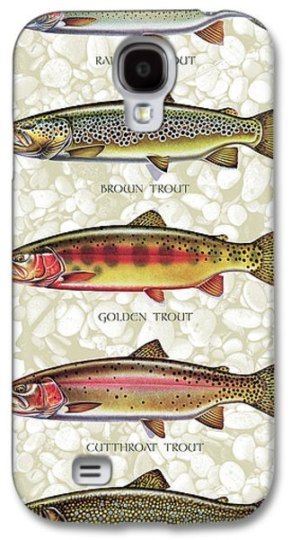 Rock Paintings Galaxy S4 Cases - Five Trout Panel Galaxy S4 Case by JQ Licensing