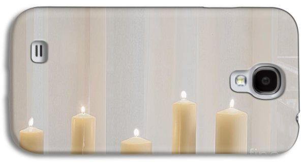 Candle Stand Galaxy S4 Cases - Five White Lit Candles Galaxy S4 Case by Andersen Ross