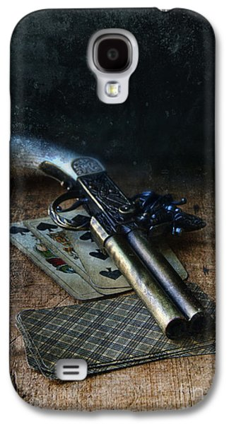 Self Shot Photographs Galaxy S4 Cases - Flint Lock Pistol and Playing Cards Galaxy S4 Case by Jill Battaglia