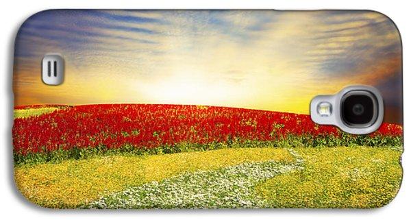 Park Scene Digital Galaxy S4 Cases - Floral Field On Sunset Galaxy S4 Case by Setsiri Silapasuwanchai