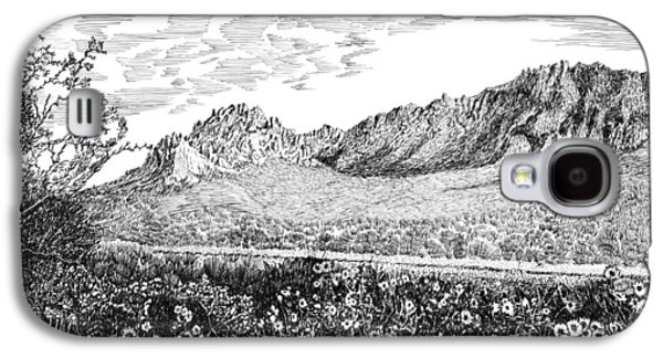 Pen And Ink Framed Prints Galaxy S4 Cases - Florida Mountains and Poppies Galaxy S4 Case by Jack Pumphrey