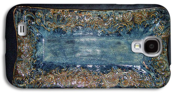 Designs Ceramics Galaxy S4 Cases - Flourish Slab Tray Licorice Glaze Galaxy S4 Case by Carolyn Coffey Wallace